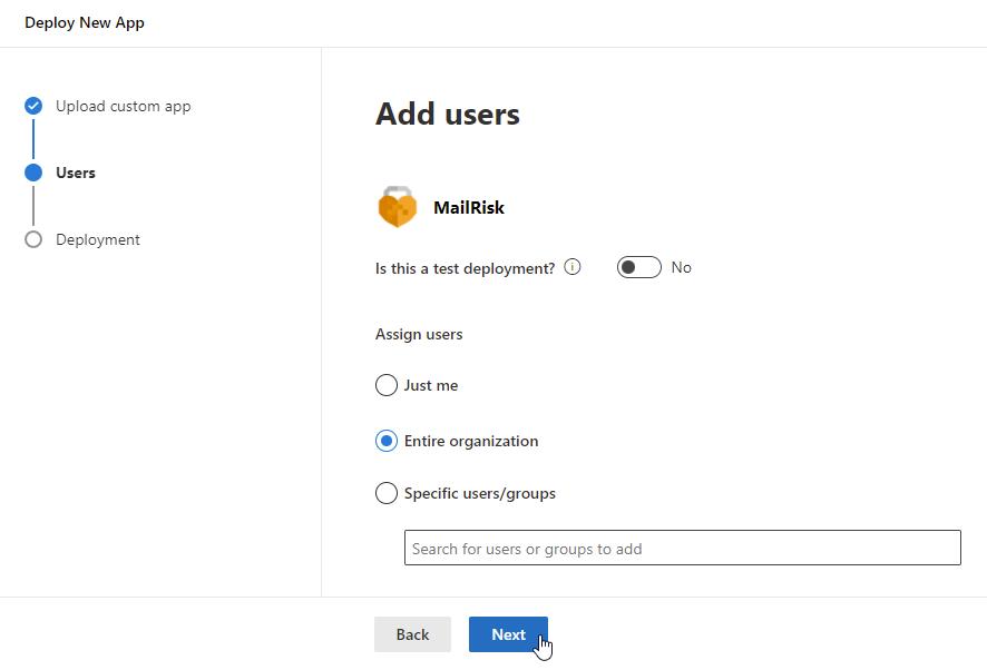 Upload custom app